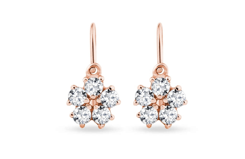 flower shaped earrings rose gold